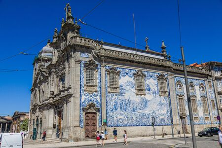 Porto, Portugal -  May 29, 2019: View on Church of Our Lady of Carmo, Porto