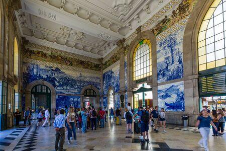 Porto, Portugal -  May 28, 2019: Sao Bento railway station in Old town of Porto, Portugal
