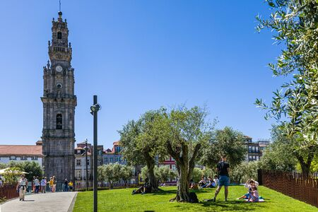 Porto, Portugal -  May 29, 2019: View of Clerigos Tower in Porto
