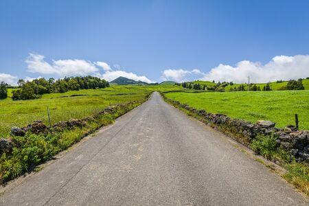 Landscape over Capelas town on Sao Miguel island, Azores archipelago, Portugal
