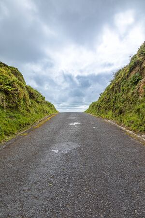 The road rises up to the horizon, Sao Miguel Island, Azores Archipelago, Portugal