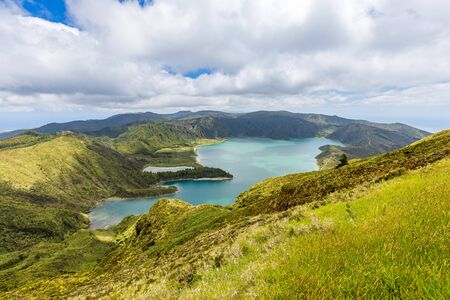 Crater Lake Lagoa do Fogo, Sao Miguel Island, Azores Archipelago, Portugal Standard-Bild