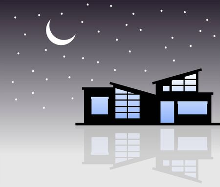 down town: Small House in the night Illustration