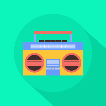 Radio Cassette Player flat icon with long shadow Иллюстрация