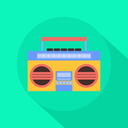 Radio Cassette Player vlakke icoon met lange schaduw Stock Illustratie