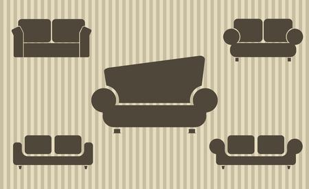 Set of sofas. Furniture icon