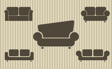 Set of sofas. Furniture icon