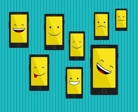 emozioni: Smart phone con le emozioni Vettoriali