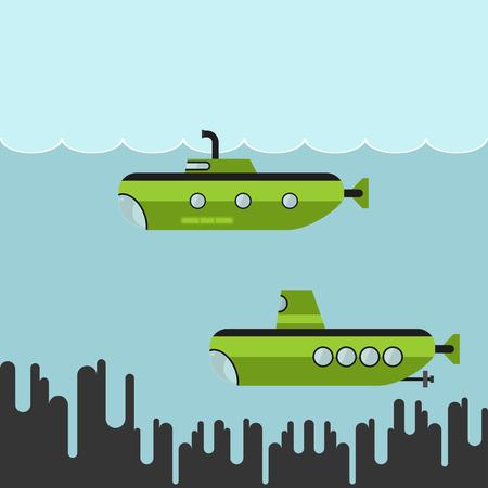 Submarines vector illustration Illustration