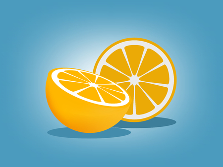 Orange fruit with blue background Ilustracja