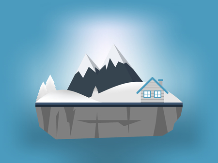 House and mountain in winter Illustration