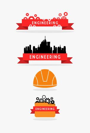 ingenieria industrial: Cinta de Ingeniería y conjunto de la bandera Vectores