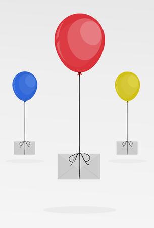 sending: Sending Letters with balloon illustration