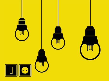 socket: Lamps, switch and socket vector Illustration
