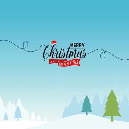 Christmas and New Year Typographical , with winter landscape