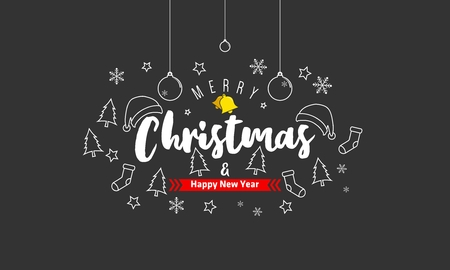 Merry christmas text with blackboard background