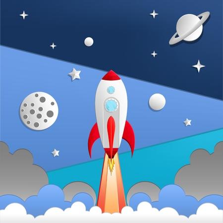 illustration of rocket in space Illusztráció