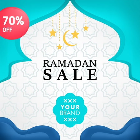 Social media post design template for ramadan event Illusztráció