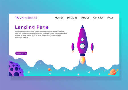 landing page template with startup illustration