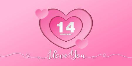 Happy valentine's day background with hearts Illusztráció