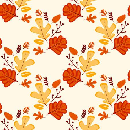 floral seamless pattern with autumn leaves Illusztráció