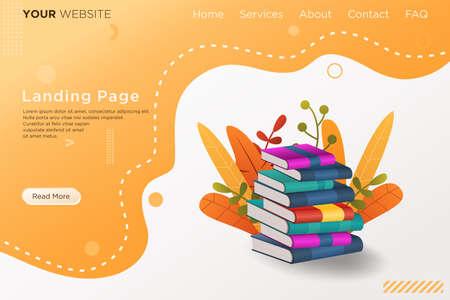 landing page with pile of books Illusztráció