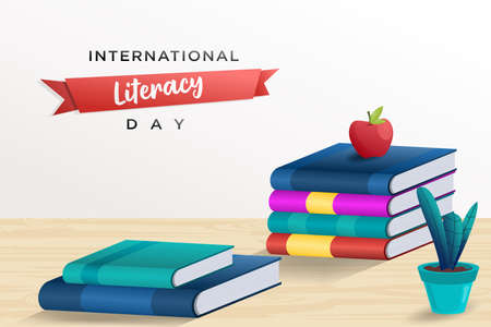 International literacy day poster with pile of books Illusztráció