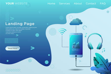 landing page template with listening music illustration