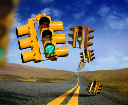 This is a conceptual motivational image.  The theme is progress, success, opportunity and direction.  The picture serves as an endorsement to �Keep on moving.�  �GO� Don�t stop. Even if you fall. Stock Photo - 4354243