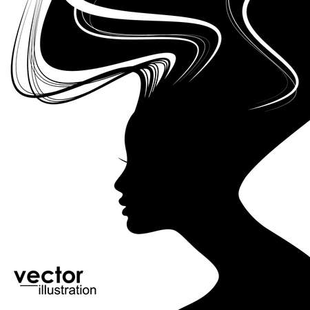 Woman face silhouette with wavy hair Фото со стока - 14930656