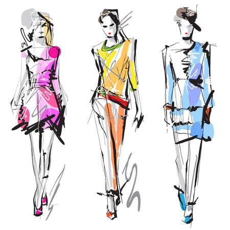 schets: Fashion modellen Sketch Stock Illustratie