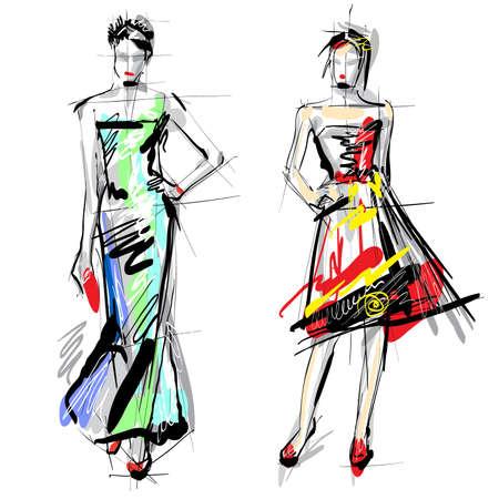 divas: Modelos de moda croquis Vectores