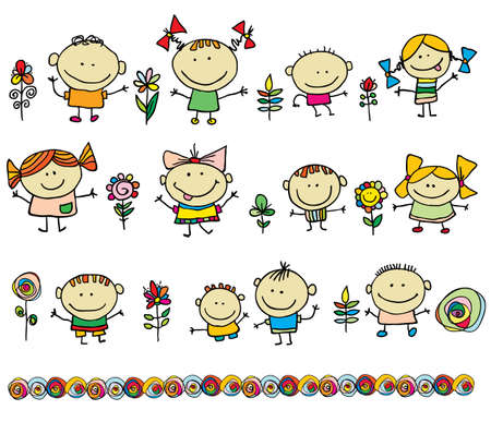carita feliz caricatura: Niños dibujado a mano de dibujos animados los niños Vectores