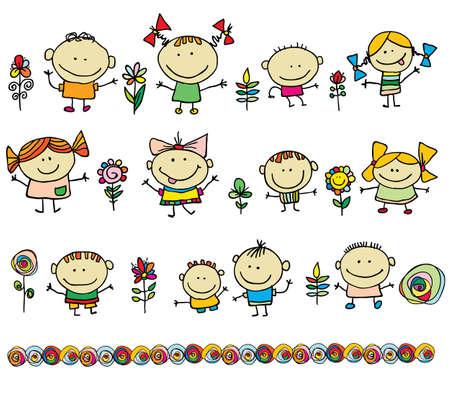 group picture: Ni�os dibujado a mano de dibujos animados los ni�os Vectores