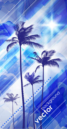 ocean view: Palm trees at sunset Illustration