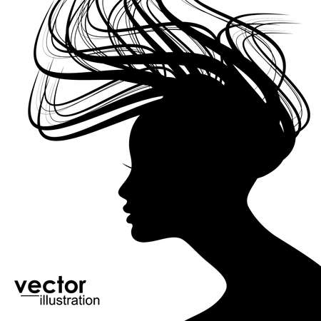 Woman face silhouette with wavy hair Stock Vector - 15173181