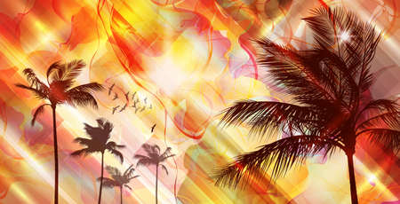 Palm trees at sunset Stock Vector - 15173240