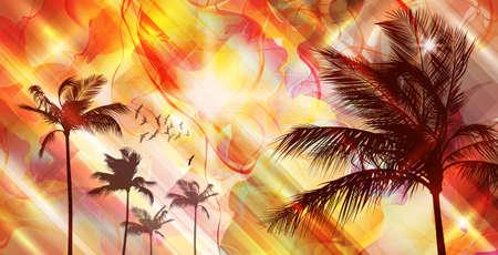 sunup: Palm trees at sunset Illustration