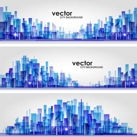 City skyline  Header set Stock Vector - 15173222