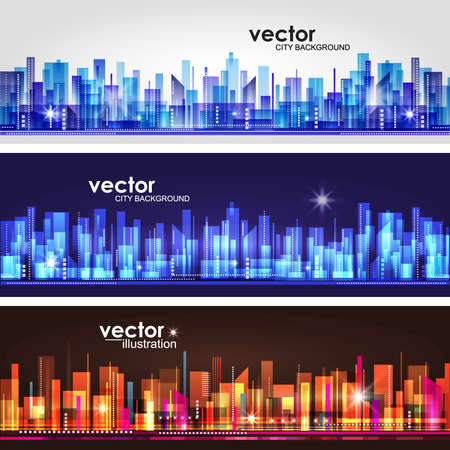 City skyline  Header set Vector