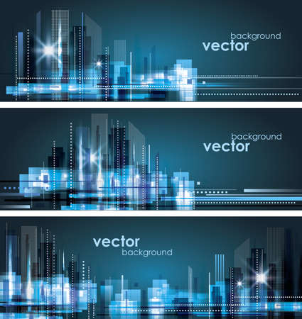 City Landscape  Header set Vector