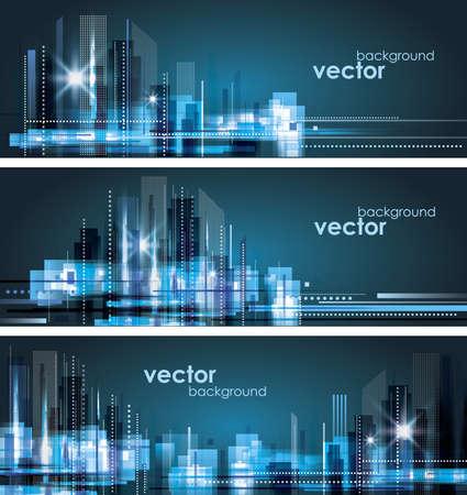 City Landscape  Header set Vectores