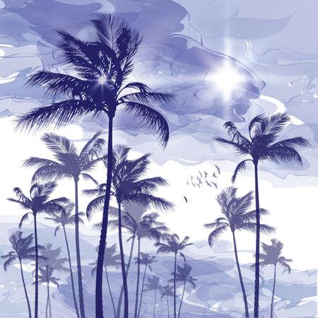 Palmera en la puesta del sol nublado Ilustración de vector