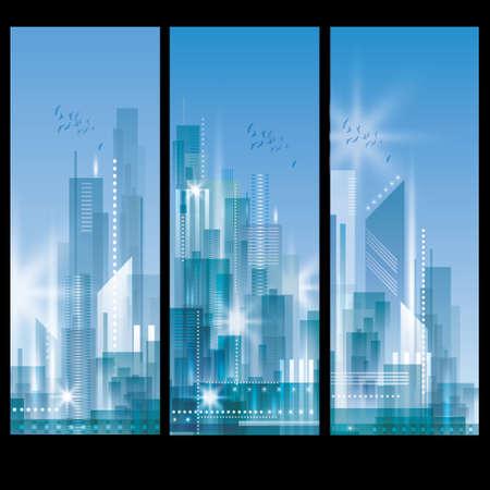 사무실 건물: 도시 풍경 배너