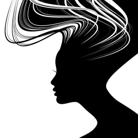 Woman face silhouette with wavy hair Zdjęcie Seryjne - 15906097