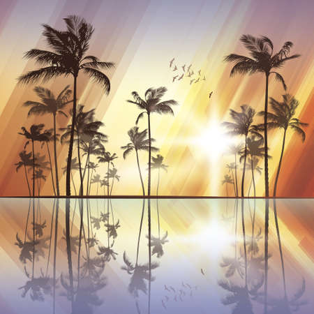tranquil scene: Palm trees with reflection in water