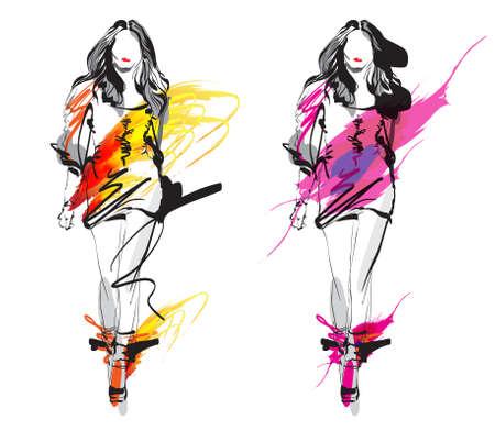modelo: Moda modelo Esbo�o Ilustra��o