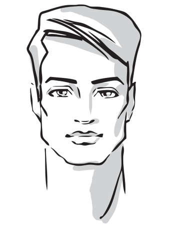 male fashion model: Man face  Hand-drawn fashion model