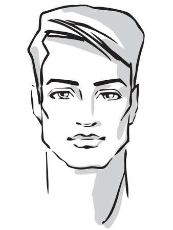 brow: Man viso disegnato a mano modella