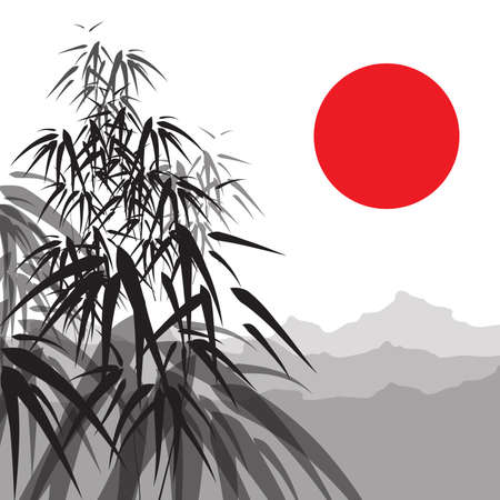 Landscape with bamboo, sun and mountains Vector